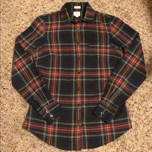 J. Crew XXS Tartan Print Button Down Shirt